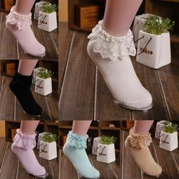Women Vintage Lace Casua Frilly Short Ankle Socks For Prince
